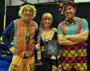 Musician extraordinaire Linsey Pollack as The Pied Piper (see the rat!), me as Scheherazade (of '1001 Arabian Nights') and Martin Chatterton, prolific author and illustrator, as a clown at the Book Parade at Belmont State School's fabulous 'Literature Week'.