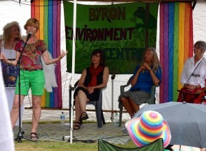 Jenni tells a fable at Climate rally. Left to right: Rosie climate guardian, Helena Norberg Hodge and Greens local candidate Walker